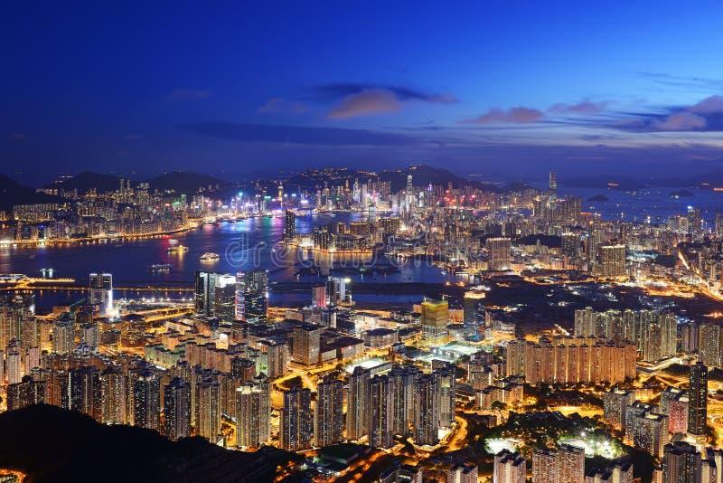 Красивый взгляд ночи Гонконга стоковое изображение rf