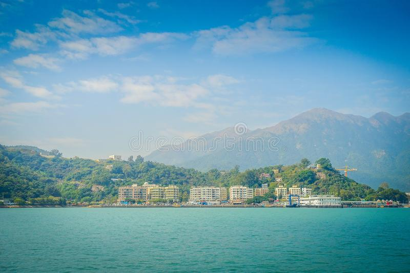 Красивый вид городка wo mui в горизонте на сельском городке, расположенный в острове lantau Гонконга стоковое изображение rf