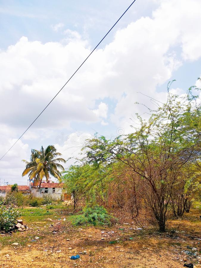 Красивый вид деревни на юге Индии стоковое фото
