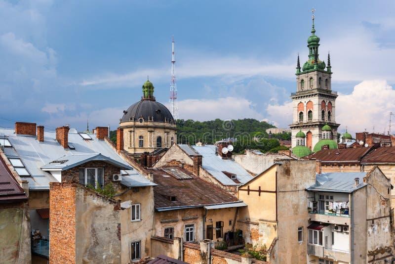 Красивый вид исторического центра города Львова, Украины стоковая фотография rf