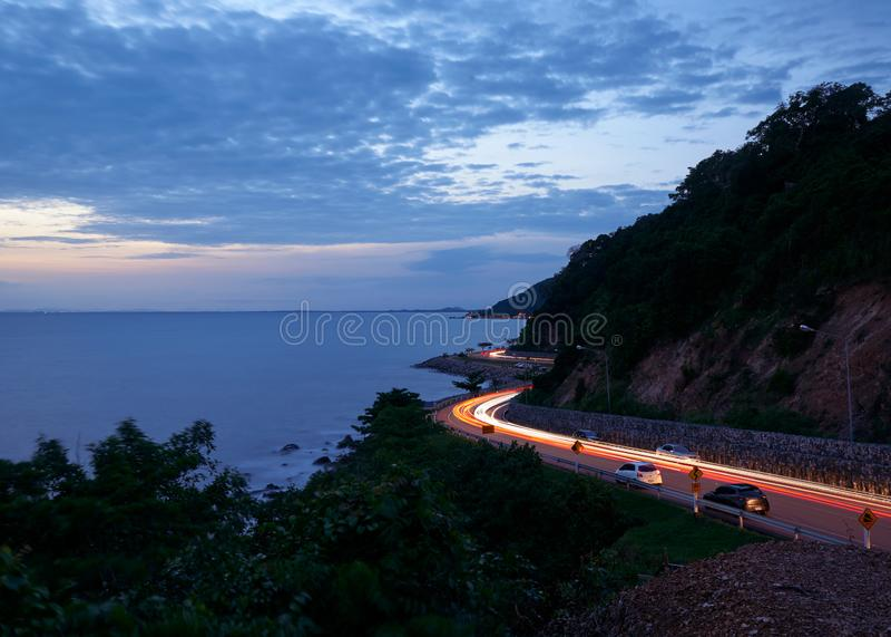 Красивый вид от точки зрения на холме nang ферзя, Chanthaburi, Таиланде стоковые изображения rf