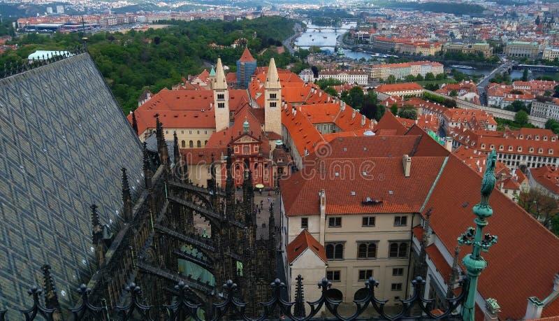 Красивый вид Праги от полета птицы стоковые фото