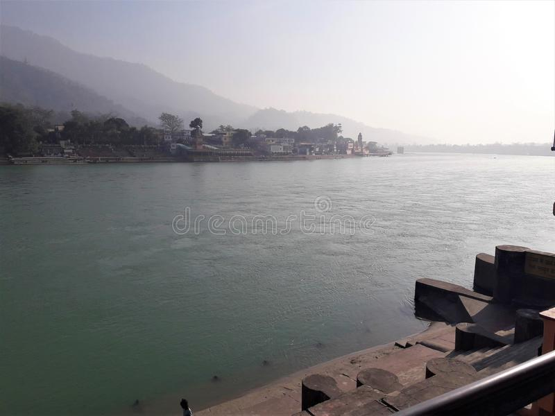 Красивый вид святого Ганга стоковая фотография rf