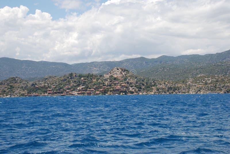 Красивый вид Средиземного моря и скалистого берега под голубым небом стоковое фото