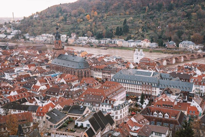 Красивый вид с воздуха Гейдельберга стоковые фото