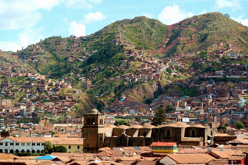 Красивый вид с воздуха Cusco как увидено от холма над городом, Cusco, Перу стоковые фотографии rf