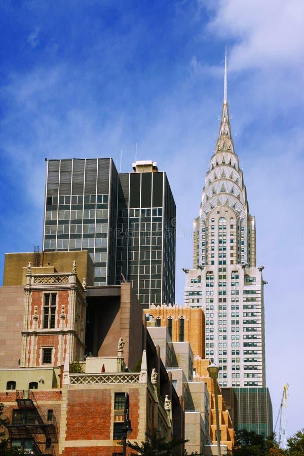 Красивый вид с красивыми верхними частями небоскребов, Нью-Йорк Манхэттена, США Верхняя часть больших зданий в финансовом районе  стоковые изображения rf