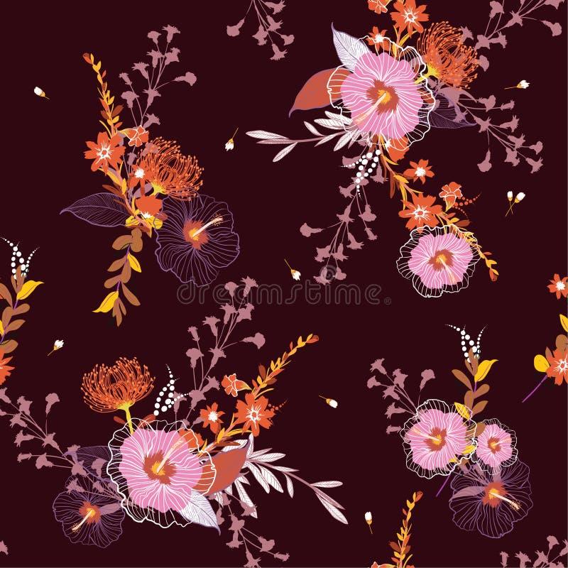 Красивый винтажный безшовный цветочный узор вектора, красочное backgr иллюстрация вектора