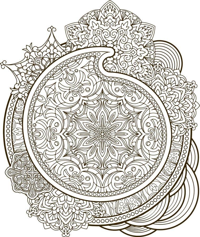 Красивый винтажный орнамент Пейсли, мандалу можно использовать как gre иллюстрация штока