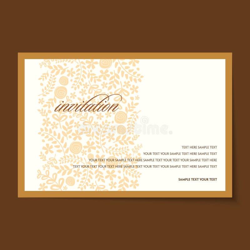 Красивый винтажный план карточек приглашения иллюстрация штока