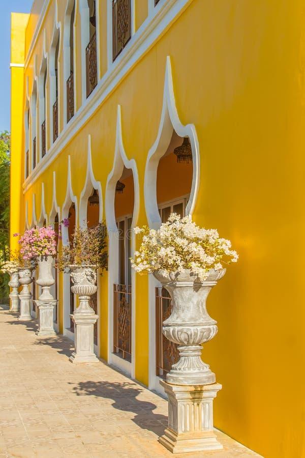 Красивый винтажный цветочный горшок на желтой предпосылке кирпичной стены с космосом экземпляра Очистите заштукатуренную кирпичну стоковые фотографии rf