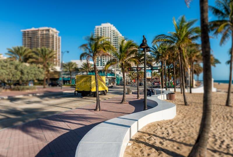 Красивый вид бульвара пляжа Fort Lauderdale, Флориды - США стоковое фото