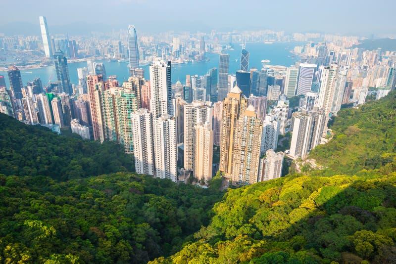 Красивый вид гавани Виктории, Гонконг, стоковые фотографии rf