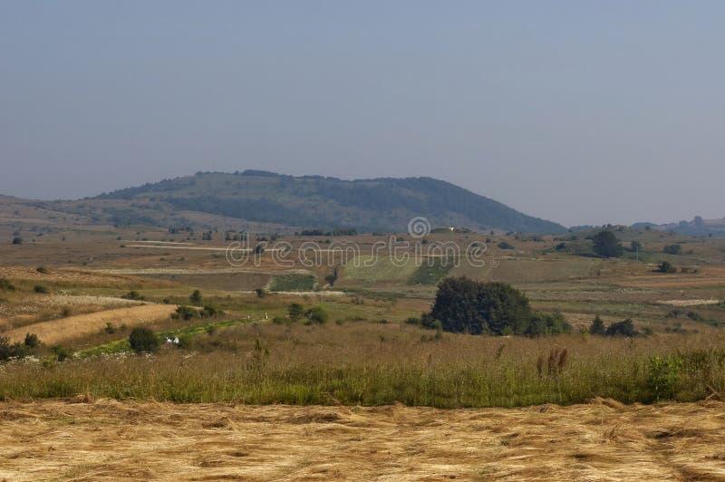 Красивый вид горы Plana с пиковым Manastirishte, полем и glade стоковые изображения rf