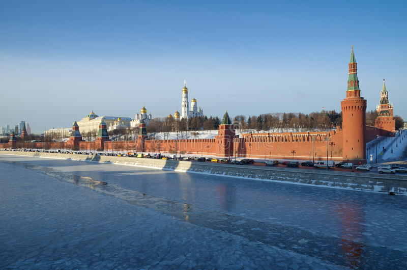 Красивый вид Москвы Кремля, России стоковые изображения