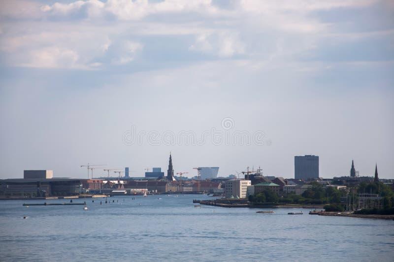 Красивый вид над главным каналом в Копенгагене, Дании стоковые изображения