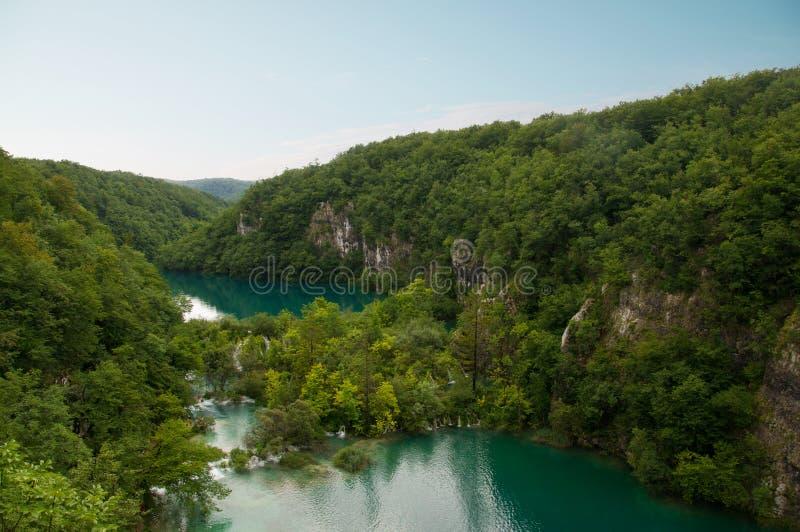 Красивый вид озер в национальном парке ka  PlitviÄ, Хорватии стоковые изображения rf