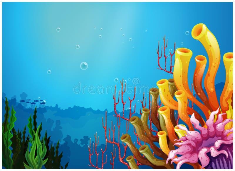 Красивый вид под морем иллюстрация штока