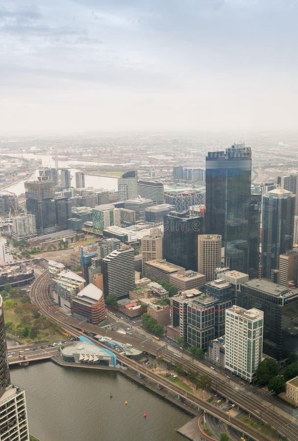 Красивый вид с воздуха горизонта Мельбурна, Австралии стоковое фото rf