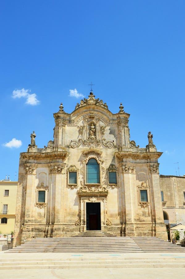 Красивый вид церков Assisi ` Сан Francesco d барочной в Matera, Италии стоковая фотография rf