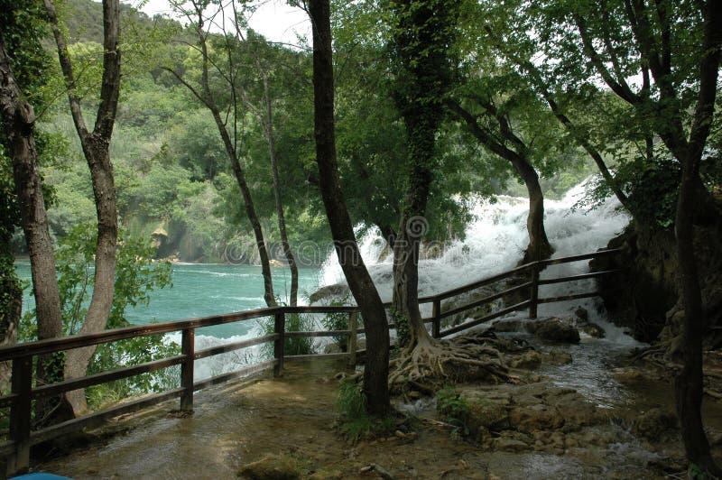 Красивый водопад в Хорватии стоковое фото rf