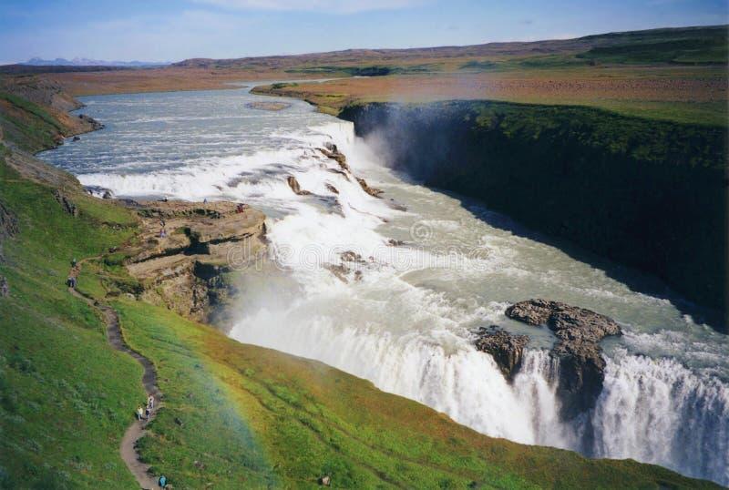 Красивый водопад Gullfoss с радугой, западной Исландией стоковое изображение