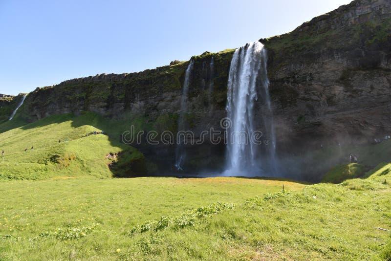 Красивый водопад Seljalandsfoss на юге Исландии стоковое фото