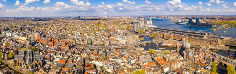 Красивый воздушный взгляд Амстердама сверху стоковая фотография rf