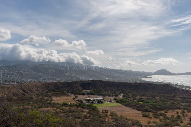 Красивый воздушный панорамный вид от вершины горы диаманта главной на Оаху стоковое изображение