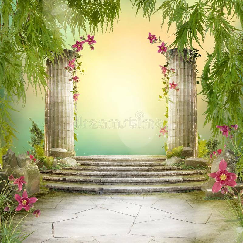 Красивый волшебный ландшафт сада, настроение сказки, стоковые изображения rf