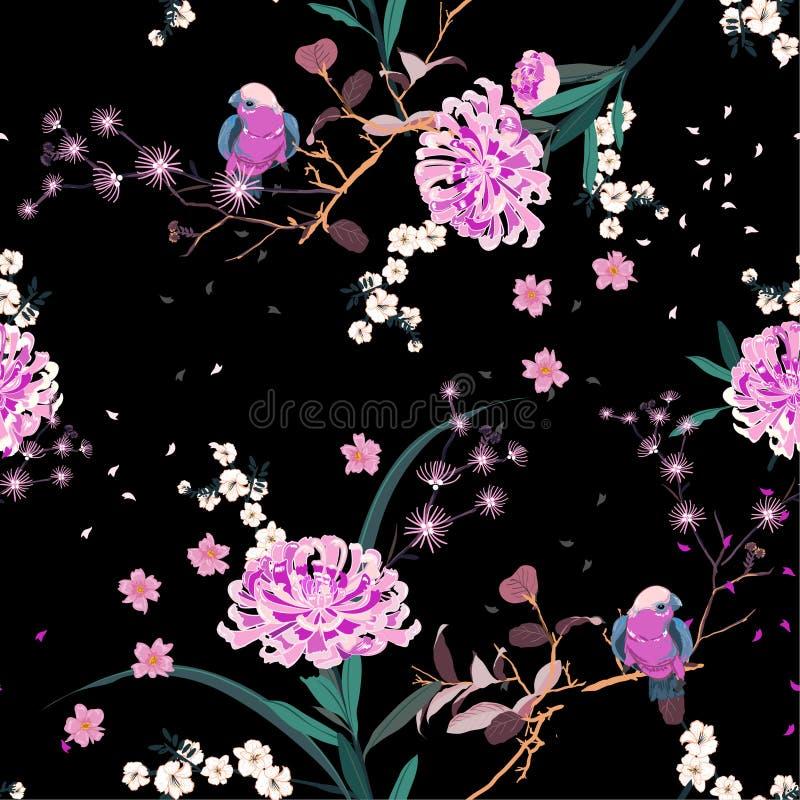 Красивый восточный цветок сада с зацветать ботанический и bloosom вишни флористическое в дизайне вектора картины ночи безшовном бесплатная иллюстрация