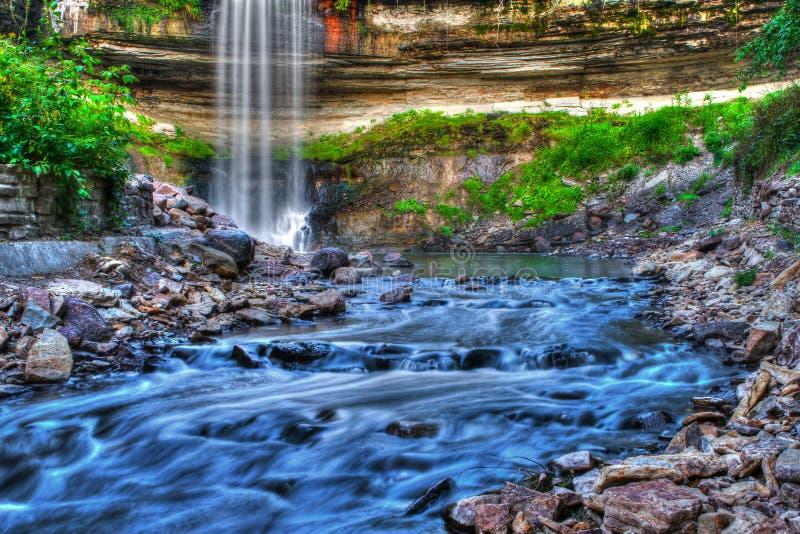 Красивый водопад заводи Minnehaha в динамическом диапазоне HDR высоком стоковое изображение