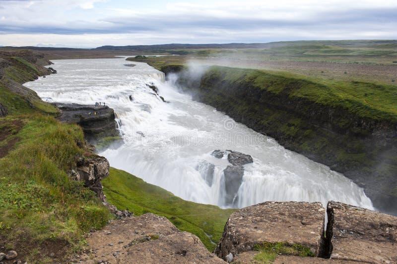 Красивый водопад на лете, Исландия Gullfoss стоковые фотографии rf