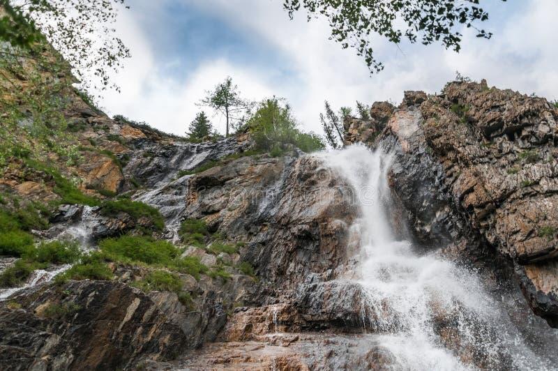 Красивый водопад на утесах в горах Altai стоковое фото rf