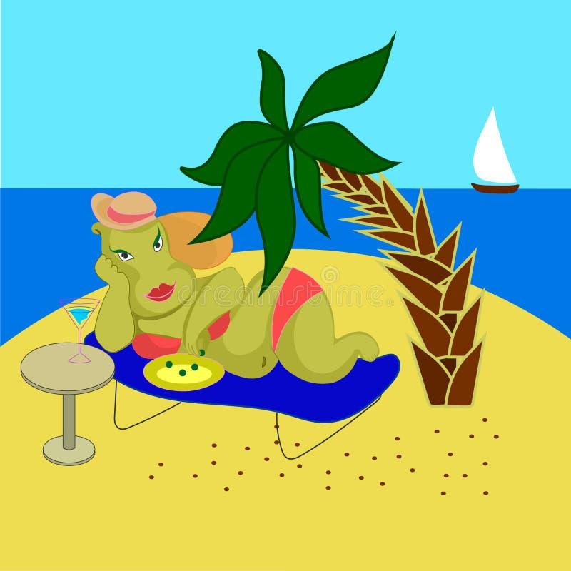 Красивый гиппопотам женщины в бикини на песчаном пляже моря бесплатная иллюстрация