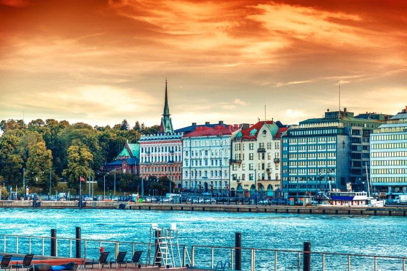 Красивый городской пейзаж, Хельсинки, столица Финляндии, взгляд t стоковые фото