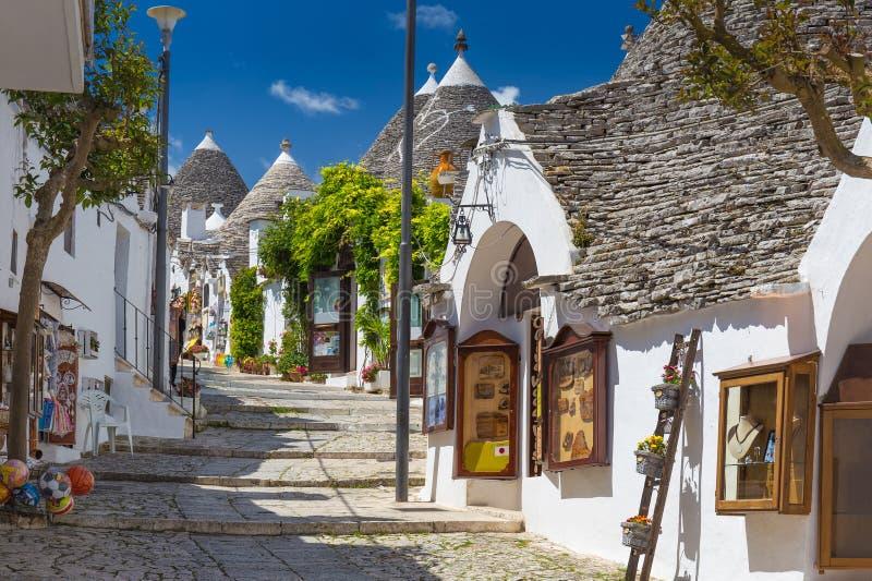 Красивый городок Alberobello с домами trulli, главное touristic стоковое изображение