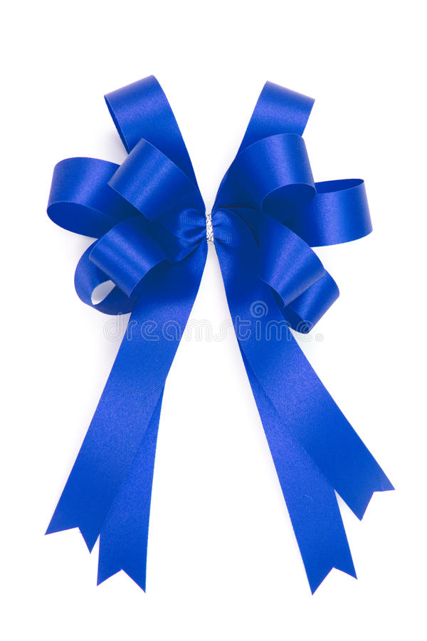 Красивый голубой смычок от ленты сатинировки стоковое изображение