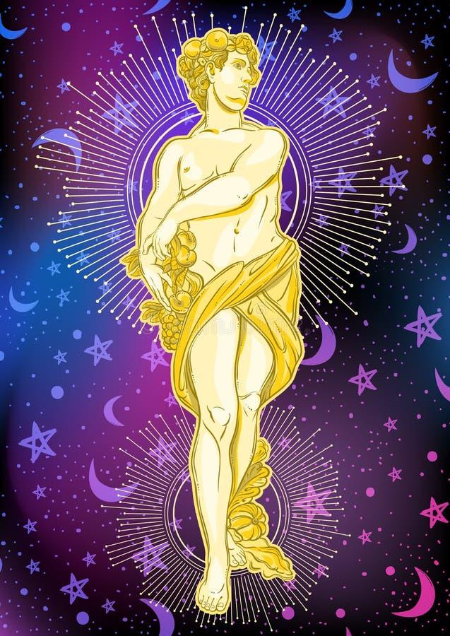 Красивый греческий бог на предпосылке космоса Мифологическая героиня древней греции Иллюстрация вектора космического пространства иллюстрация вектора