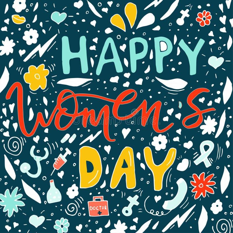 Красивый дизайн карточки для счастливого торжества дня ` s женщин Postcar иллюстрация штока