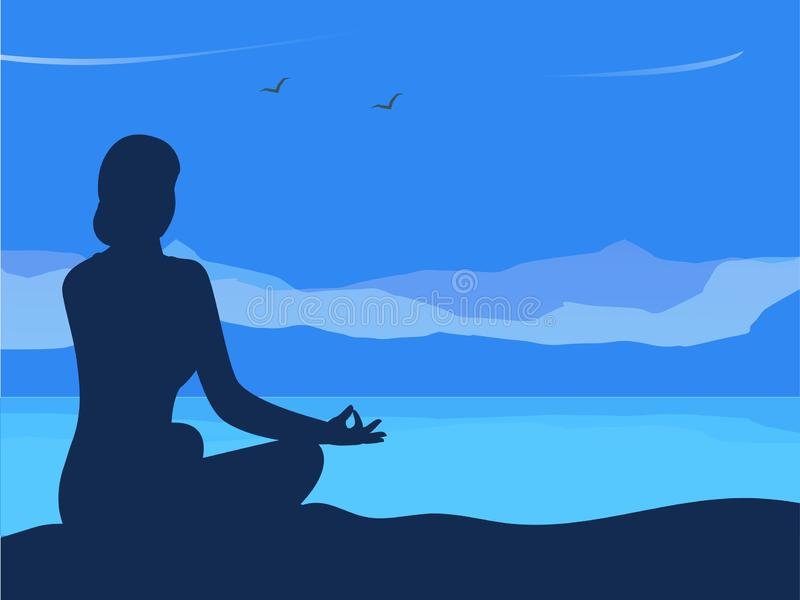 Красивый дизайн плаката или знамени с силуэтом женщины в представлении раздумья на предпосылку горного вида на день йоги Космос д иллюстрация вектора