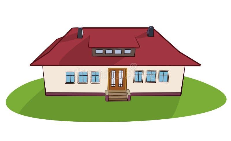 Красивый дом в деревне с красной крышей - вектором бесплатная иллюстрация
