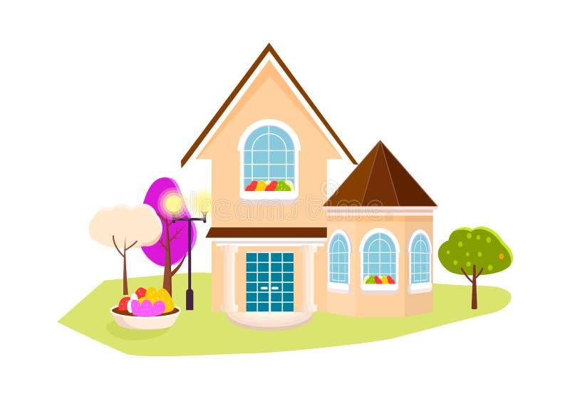 Красивый дом с садом на белой предпосылке иллюстрация штока