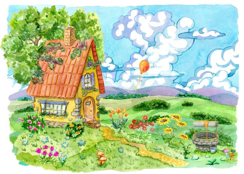 Красивый дом с хорошо, дерево и сад цветут против поля и воздушного шара лета в небе бесплатная иллюстрация
