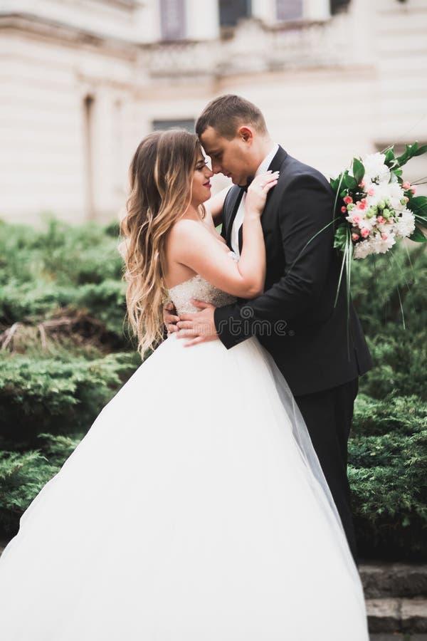 Красивый жених и невеста обнимая и целуя на их день свадьбы стоковое фото