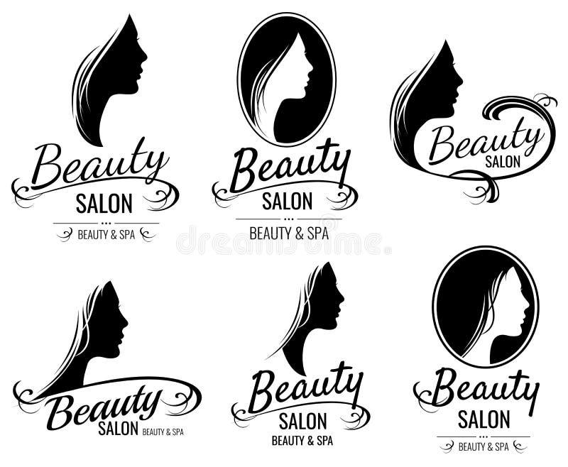 Красивый женский портрет стороны, шаблоны логотипа вектора силуэта женщины головные для парикмахерской, салона красоты, косметики иллюстрация штока