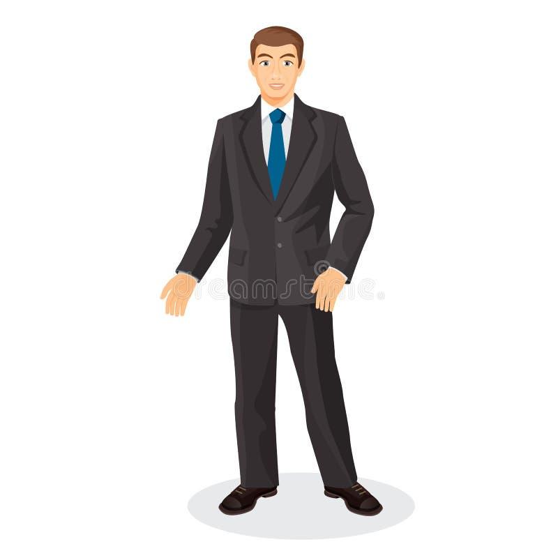 Красивый джентльмен в элегантном костюме с голубой связью бесплатная иллюстрация
