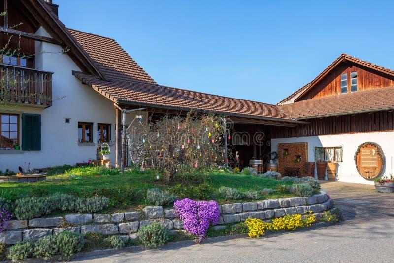 Красивый загородный дом украшенный на праздник пасхи на солнечный весенний день Деревня Villigen, Швейцарии стоковые фото