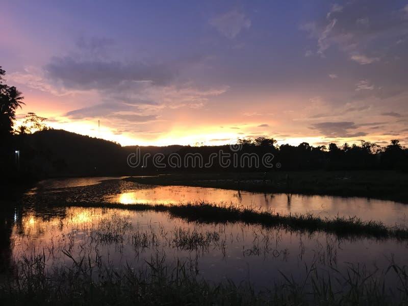 Красивый заход солнца в Шри-Ланке стоковое изображение