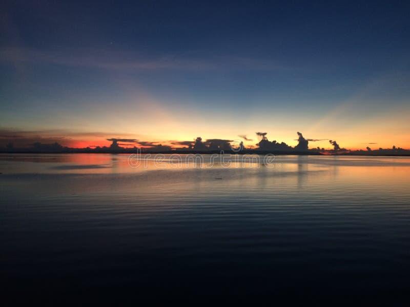 Красивый заход солнца в Thaiand стоковая фотография rf